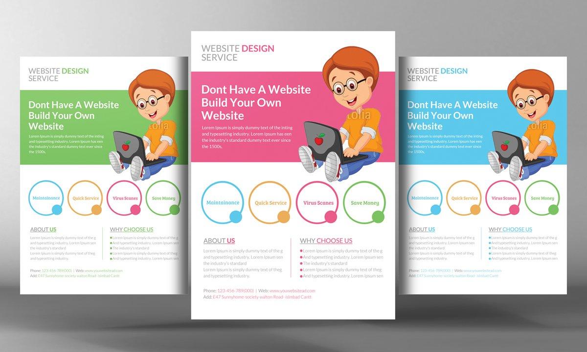 Premium Website Design Flyer Flyer Templates Creative Market - Web design flyer template