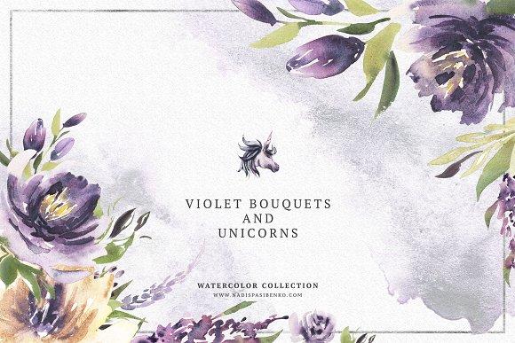 Violet Bouquets Unicorns