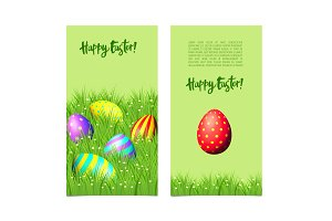 Banners with Easter eggs and green grass