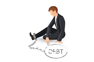 Businessman in metal handcuffs on leg vector illustration of hostage
