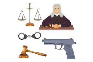Enforcement agencies conceptual vector illustration of judge in robes