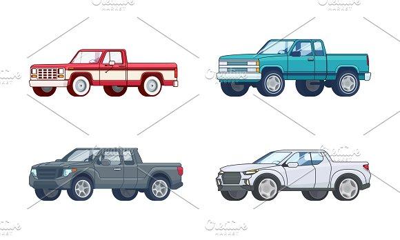 Colorful Pickup Truck Models Set