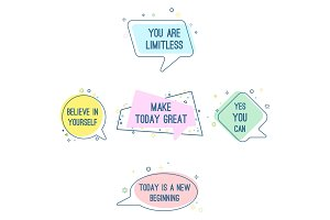 Set of motto sayings believe in yourself, you are limitless