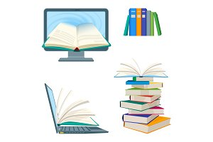 Online encyclopedia poster with computer and notebook, digital textbooks