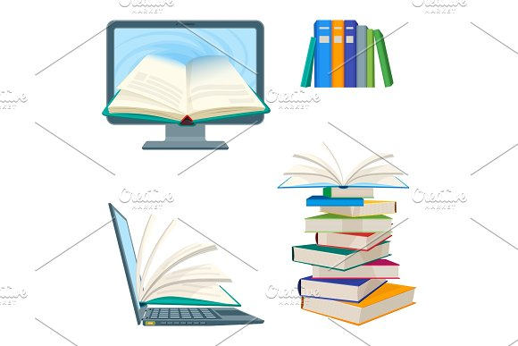 Online Encyclopedia Poster With Computer And Notebook Digital Textbooks