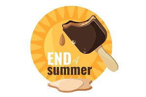 End of summer melting ice cream vector illustration