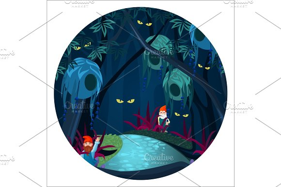 Enchanted Forest With Mysterious Creatures Ghosts And Gnomes