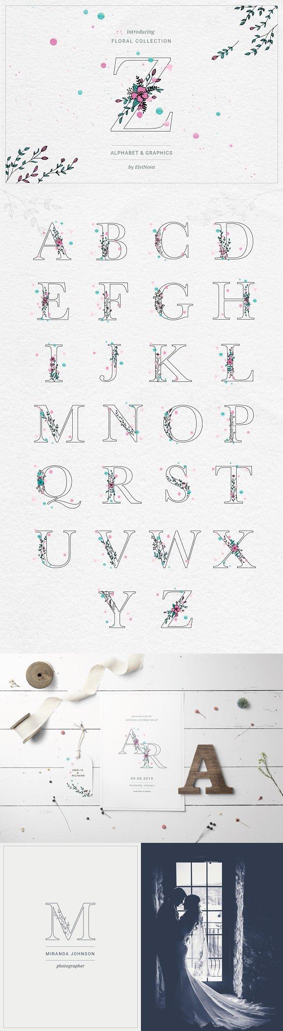 Floral Alphabet Graphics