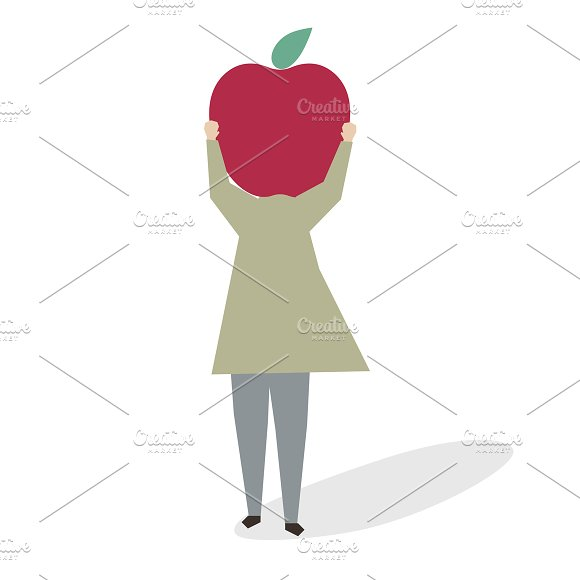 Illustration Of A Woman With Apple