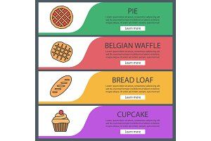 Bakery web banner templates set