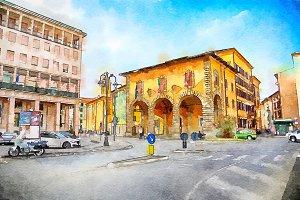 watercolor style,  Livorno