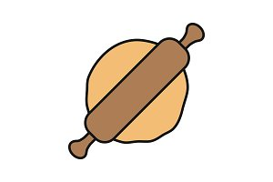 Rolling pin and dough color icon