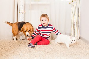 the boy and lovely pets