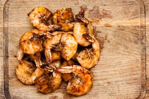Spicy shrimps  top view