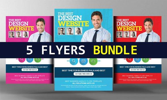 5 Website Design Agency Flyer Bundle