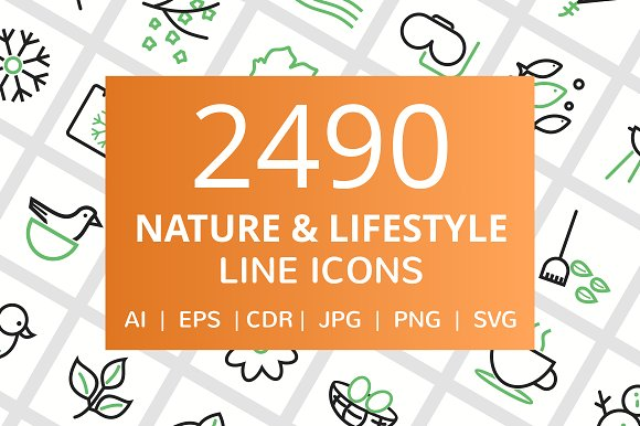 2490 Nature Lifestyle Line Icons