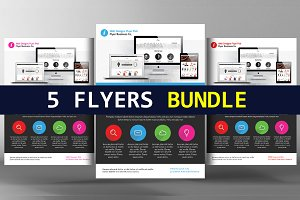 5 Website Design Flyers Bundle