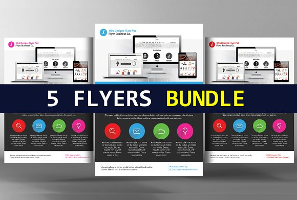 5 Website Design Flyers Bundle