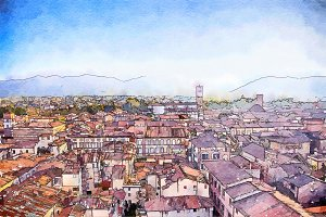 Lucca, watercolor style