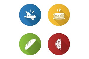Bakery flat design long shadow glyph icons set