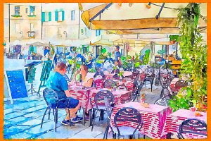people in street cafe, Italy
