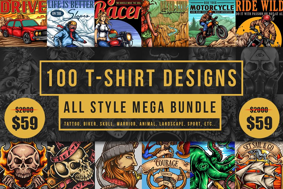 9e3b9785e5f 100 T-Shirt Designs ~ Illustrations ~ Creative Market