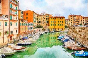 Livorno, watercolor style