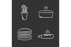 Bakery chalk icons set
