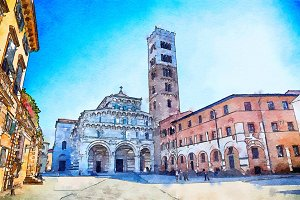 Lucca Cathedral, watercolor style