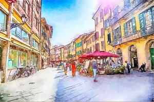 Pisa, watercolor style