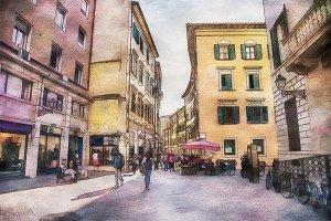 watercolor style,  Pisa