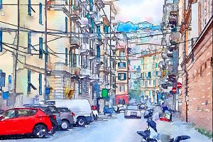 La Spezia, watercolor style