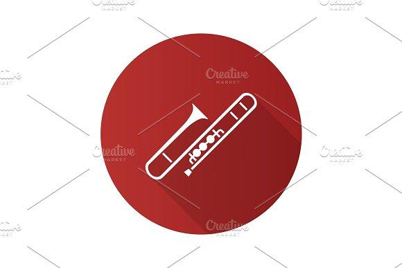 Trombone Flat Design Long Shadow Glyph Icon
