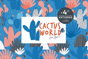 Cactus world seamless pattern