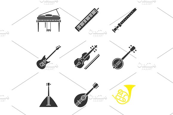 Musical Instruments Glyph Icons Set