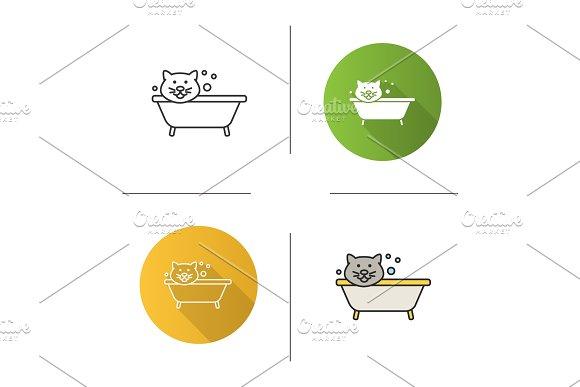 Bathing Cat Icon