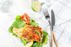 Grilled salmon steak filet