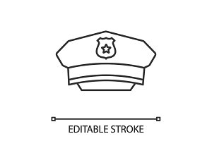Policeman hat linear icon
