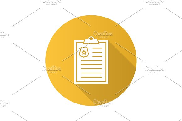 Police report flat design long shadow glyph icon