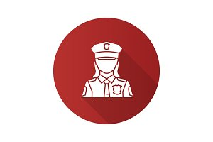 Policewoman flat design long shadow glyph icon