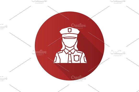Policewoman Flat Design Long Shadow Glyph Icon