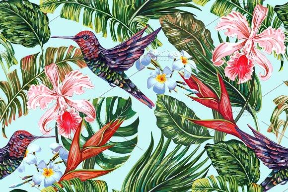Tropical Flowers Leaves Bird Pattern