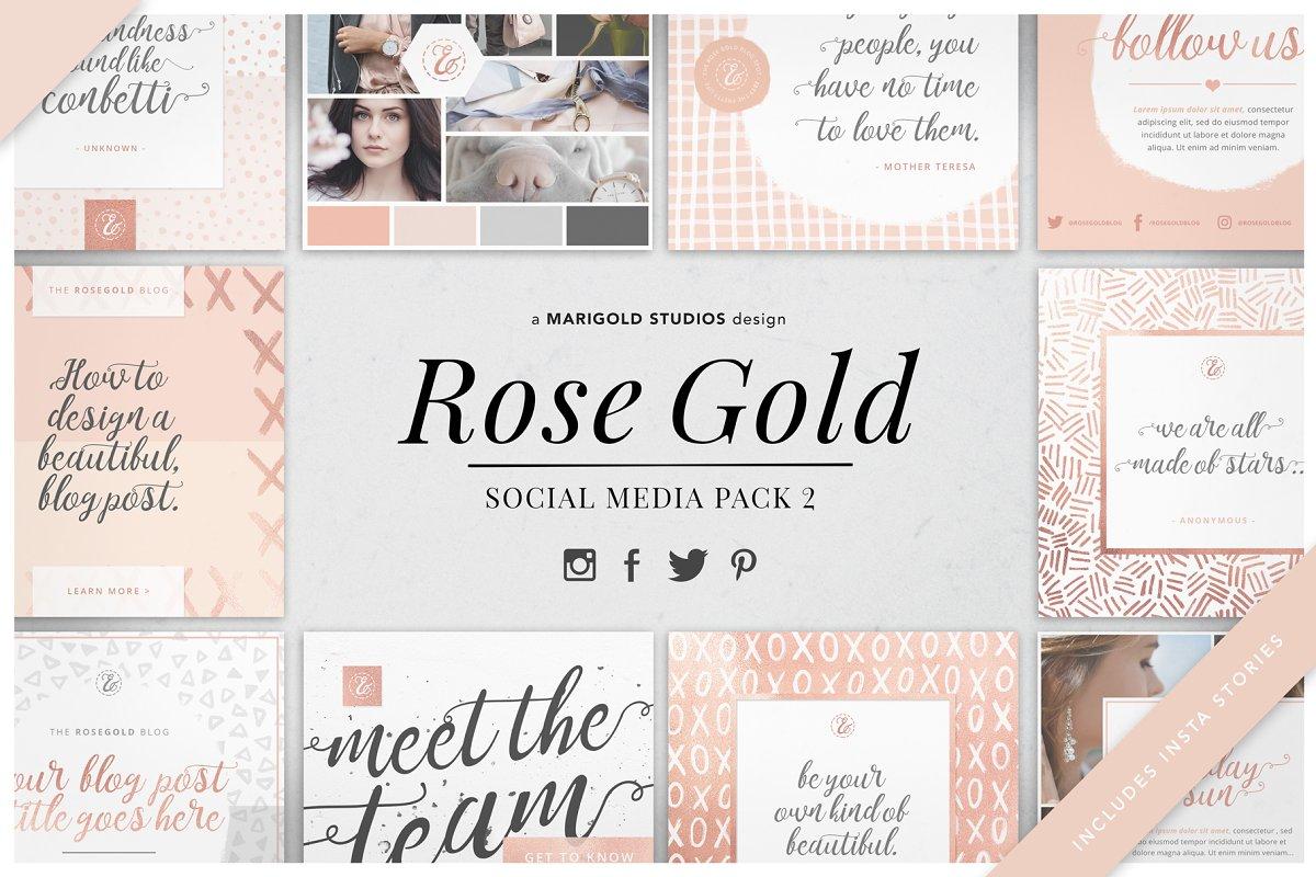 ROSE GOLD | Social Media Pack 2 ~ Instagram Templates