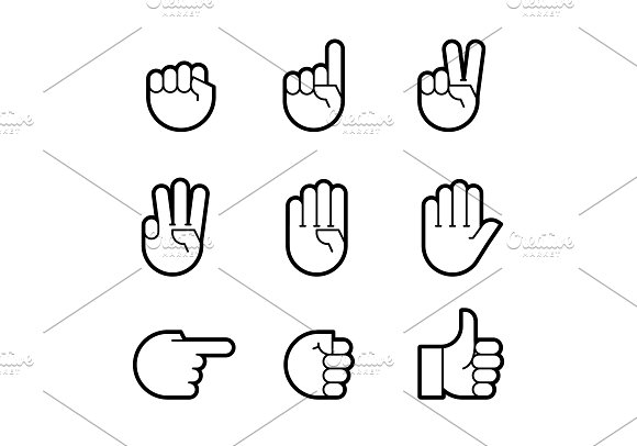 Hand Gestures Line Icons Set