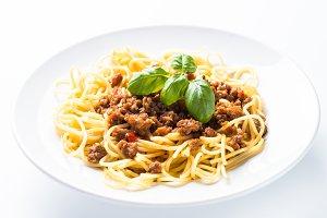 Spaghetti bolognese  isolated.