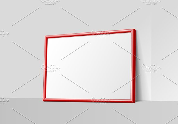 Realistic Red Horizontal Frame