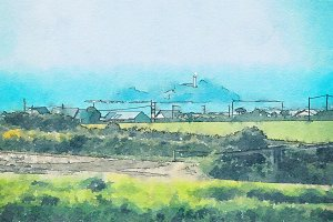 Cornwall, England, watercolor style