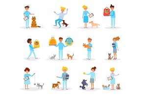 Veterinarians with animals