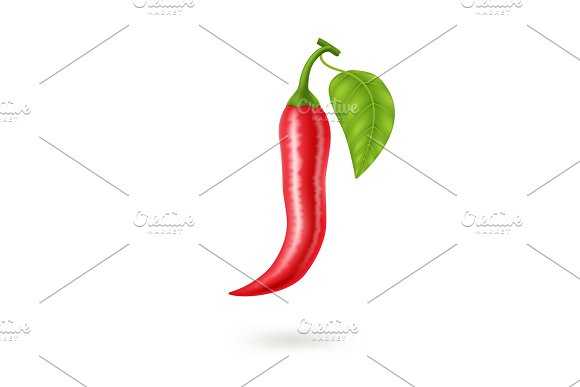 Realistic Red Hot Natural Chili Pepper Isolated Image With Shadow Vector Illustration EPS10
