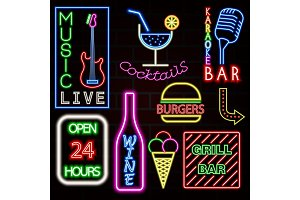 Colorful Neon sign set. Vector illustration EPS10.